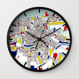 New Orleans, Louisiana City Map - Mondrian Wall Clock