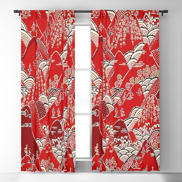 Red Mountains Blackout Curtain