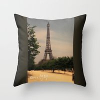 1984 Throw Pillows featuring Paris 1984 by Rolfsson
