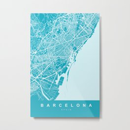 Barcelona Map Spain | Blue & Cyan | More Colors, Review My Collections Metal Print