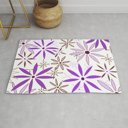 Abstract Floral Daisy Flower Pattern Purple and Brown Art by Megan Duncanson MADART Rug