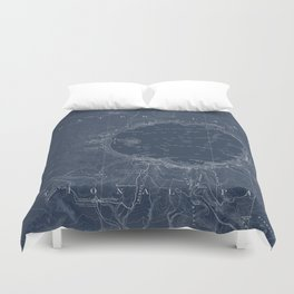 Crater Lake Blueprint Map Design Duvet Cover