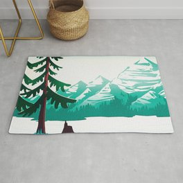 View from 217 - Vintage Inspired Mid Century Style Watercolor Landscape Snow Mountain Rug