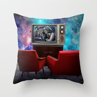 tv Throw Pillows featuring Television by Cs025