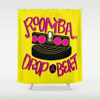 dj Shower Curtains featuring DJ Roomba by Chelsea Herrick