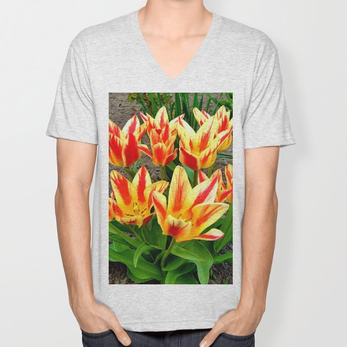 Orange Yellow Tulpis,Spring Flowers Unisex V-Neck