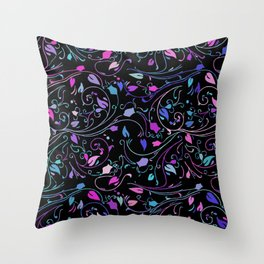 Abstract Floral on Black Background Throw Pillow