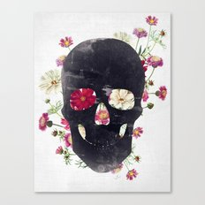 Skull Grunge Flower Canvas Print