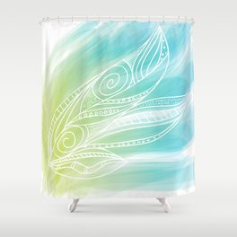 Leafy Paradise Green and Blue Shower Curtain