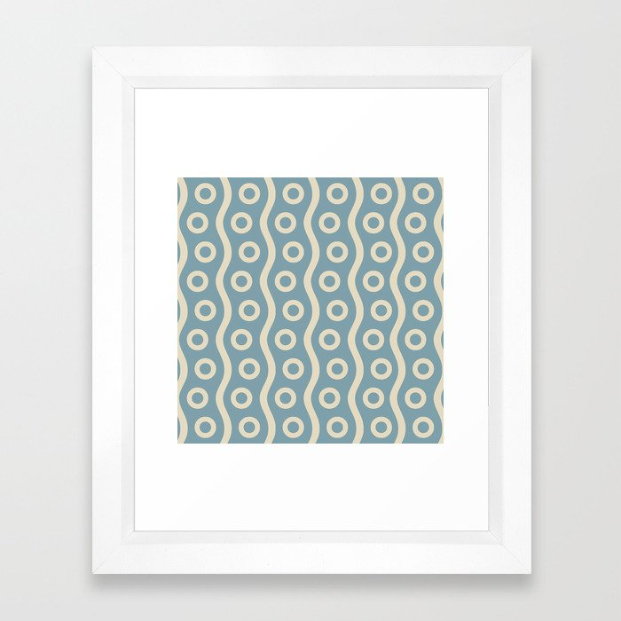 Mid Century Modern Rising Bubbles Pattern 2 Blue and Cream Framed Art Print