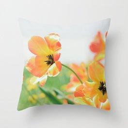 Bright Orange Tulips in Sunlight Throw Pillow