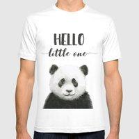 Panda Art Print Baby Animals Hello Little One Nursery Decor MEDIUM White Mens Fitted Tee