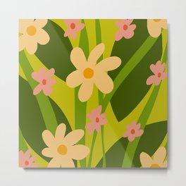 Modern Floral Spring Pattern Metal Print