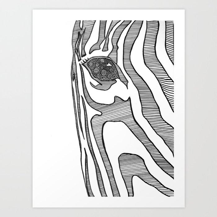 Black And White Zebra Portrait Art Print