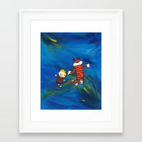 calvin hobbes Framed Art Prints featuring Calvin & Hobbes - Blue by Always Add Color