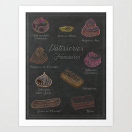 French Pastries Chalk Board Illustration Art Print