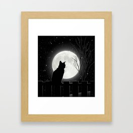 Silent Night Cat and full moon Framed Art Print