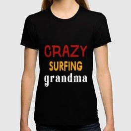 Crazy Surfing Grandma T-shirt