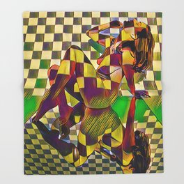 6097-KMA Checkerboard Nude Sitting on Mirror Throw Blanket