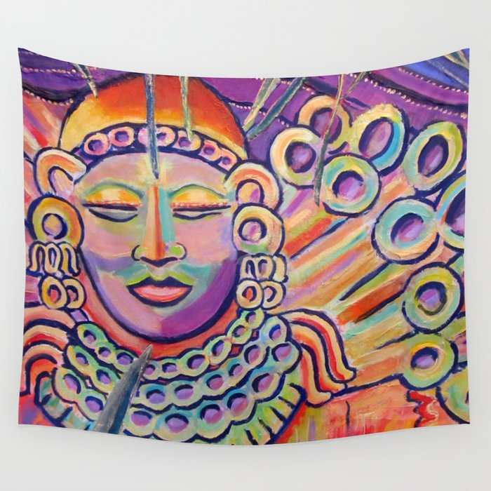 Colorful Zen Buddha meditating Wall Tapestry