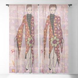 AUTUMN FAIRY - fashion illustration Sheer Curtain