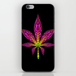 Pink and Yellow Psychedelic Cannabis Leaf iPhone Skin