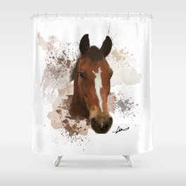 Brown and White Horse Watercolor Shower Curtain