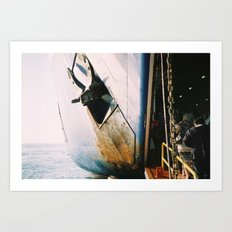 Leaving a Greek island Art Print