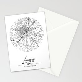 Limoges Area City Map, Limoges Circle City Maps Print, Limoges Black Water City Maps Stationery Cards