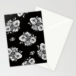 Black Flower Pattern White Flowers Stationery Cards