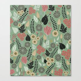 Pink & Green Floral Pattern Canvas Print