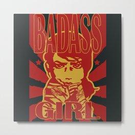 Badass Girl, red Metal Print