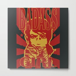 Badass Girl, red Metal Print