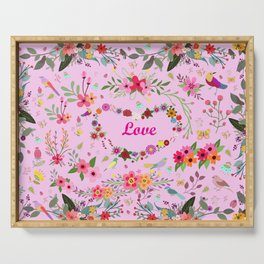 Say I love you with flowers Serving Tray