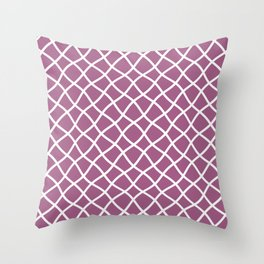 Mauve and white curved grid pattern Throw Pillow