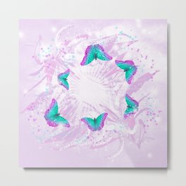 Abstract vibrant butterflies against a floral background featuring wattle Metal Print