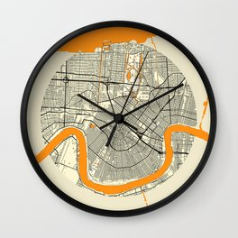 New Orleans Map Moon Wall Clock