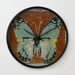 SHABBY CHIC GREY WESTERN BUTTERFLY BROWN ART Wall Clock