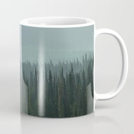 Misty Pine Trees Photography, Forest Mountain Landscape Photography Coffee Mug