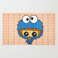 cookie monster Area & Throw Rugs featuring Cookie Monster Boy  by aldarwish