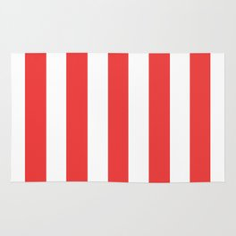 Vivaldi Red - solid color - white vertical lines pattern Rug