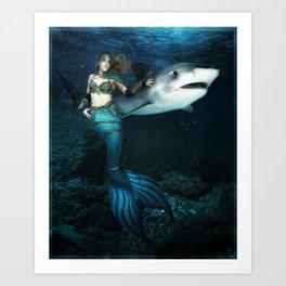 Mermaid Warrior Art Print