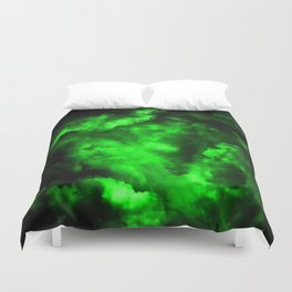 Envy - Abstract In Black And Neon Green Duvet Cover