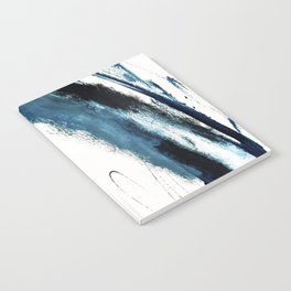 Reykjavik: a pretty and minimal mixed media piece in black, white, and blue Notebook