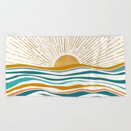 The Sun and The Sea - Gold and Teal Beach Towel