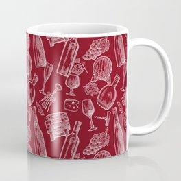 wine time (white on red) Coffee Mug