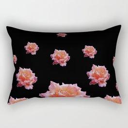 ROMANTIC ANTIQUE PINK ROSES ON BLACK Rectangular Pillow