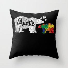 Love Auntie Bear  Autistic Kids Autism Awareness Throw Pillow