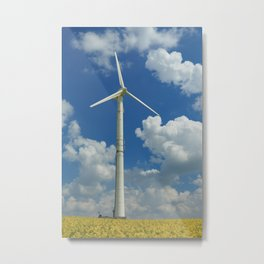 Wind Turbine Windmill in the Landscape with Yellow Colza Field and Blue Sky Metal Print
