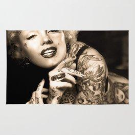 Marilyn Vintage Tattoo Portrait   Celebrity Fan Art Rug
